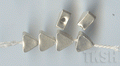Thai Karen Silver Triangle Brushed Beads  BL076 (5 beads)