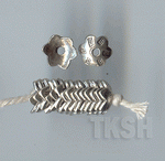 Thai Karen Silver Dot Printed Flower Caps BL434 (10 beads)