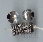 Thai Karen Silver Flower Caps With Fan Printed BL422 (10 beads)