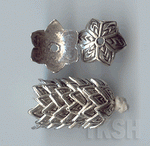 Thai Karen Silver Flower Caps With Leaf Printed  BL416 (10 beads)