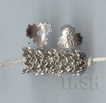 Thai Karen Silver Flower Caps Wiht Leaf Printed  BL419 (10 beads)