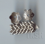 Thai Karen Silver Flower Caps Wiht Printed BL420 (10 beads)
