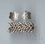 Thai Karen Silver Flower Caps With Printed BL421 (10 beads)
