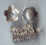 Thai Karen Silver Flower Caps With Line Printed BL409 (10 beads)