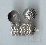 Thai Karen Silver Flower Caps With Twist Ring BL414 (10 beads)
