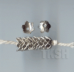 Thai Karen Silver Leaf Printed Flower Caps BL430 (10 beads)