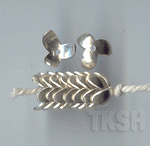 Thai Karen Silver  Plain Flower Caps BL427 (10 beads)