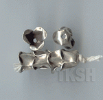 Thai Karen Silver Plain Flower Caps BL440 (5 beads)