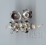 Thai Karen Silver Plain Flower Caps BL441 (5 beads)