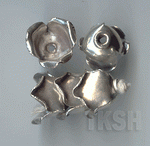 Thai Karen Silver Plain Flower Caps BL442 (5 beads)