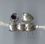 Thai Karen Silver  Plain Poppy Caps BL444 (5 beads)