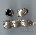 Thai Karen Silver Plain Poppy Caps BL445 (5 beads)