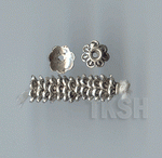 Thai Karen Silver Printed Flower Caps BL435 (10 beads)
