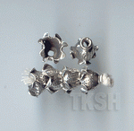 Thai Karen Silver Printed Flower Caps BL436 (5 beads)