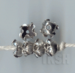 Thai Karen Silver Printed Flower Caps BL437 (5 beads)