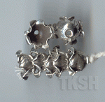 Thai Karen Silver Printed Flower Caps BL438 (5 beads)