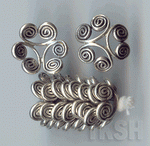 Thai Karen Silver Swirl Flower Caps BL410 (10 beads)
