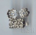 Thai Karen Silver Swirl Flower Caps BL411 (10 beads)