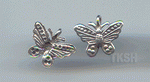 Thai Karen Silver Embossed Butterfly Charm NS128