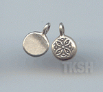 Thai Karen Silver Flower Printed Cute Round Charm NS108