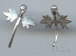 Thai Karen Silver Swing Leaf Printed Little Dragonfly Charm NS124