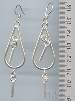 Thai Karen Silver Dew Drop With Hanging Stick Earrings ER045
