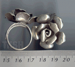 Thai Karen Silver Blooming Rose Ring RR004