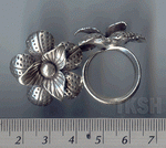 Thai Karen Silver Printed Flower Ring  RR001