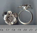 Thai Karen Silver Printed Flower Ring RR003