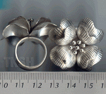 Thai Karen Silver Printed Flower Ring  RR005