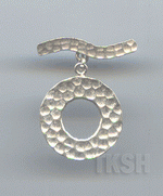 Thai Karen Silver Hammered Circle Toggle  TG074
